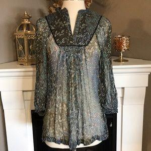 Zara Basic Sheer Silk Mandarin Collar Printed Top